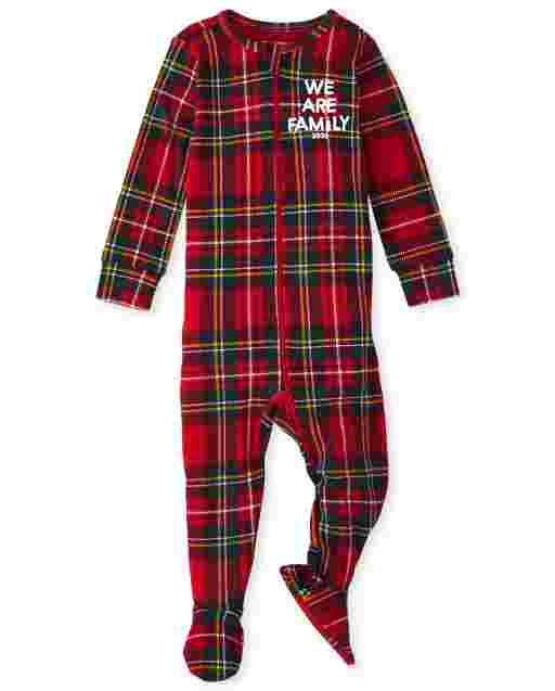 Unisex Baby And Toddler Matching Family Christmas Long Sleeve Family Tartan Snug Fit Cotton Footed One Piece Pajamas