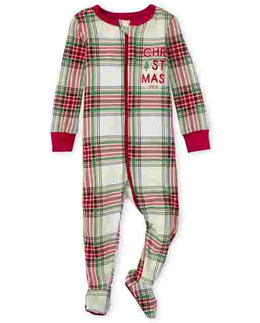 Unisex Baby And Toddler Matching Family Christmas Long Sleeve Christmas Tartan Snug Fit Cotton Footed One Piece Pajamas
