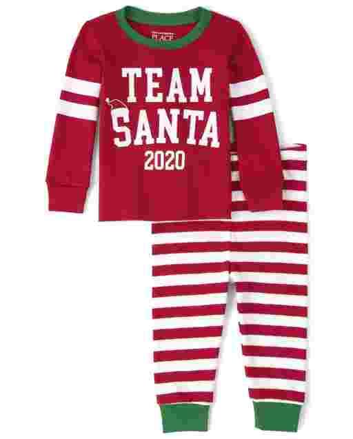 Unisex Baby And Toddler Matching Family Christmas Long Sleeve Team Santa Snug Fit Cotton Pajamas