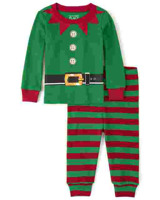 Unisex Baby And Toddler Matching Family Christmas Long Sleeve Elf Snug Fit Cotton Pajamas