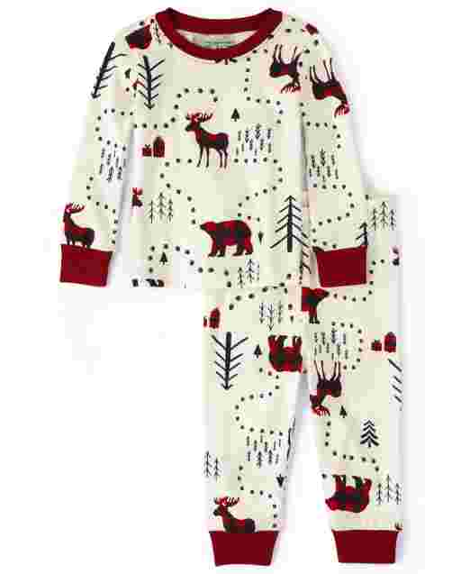 Unisex Baby And Toddler Matching Family Christmas Long Sleeve Winter Forest Snug Fit Cotton Pajamas