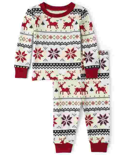 Unisex Baby And Toddler Matching Family Christmas Long Sleeve Reindeer Fairisle Snug Fit Cotton Pajamas