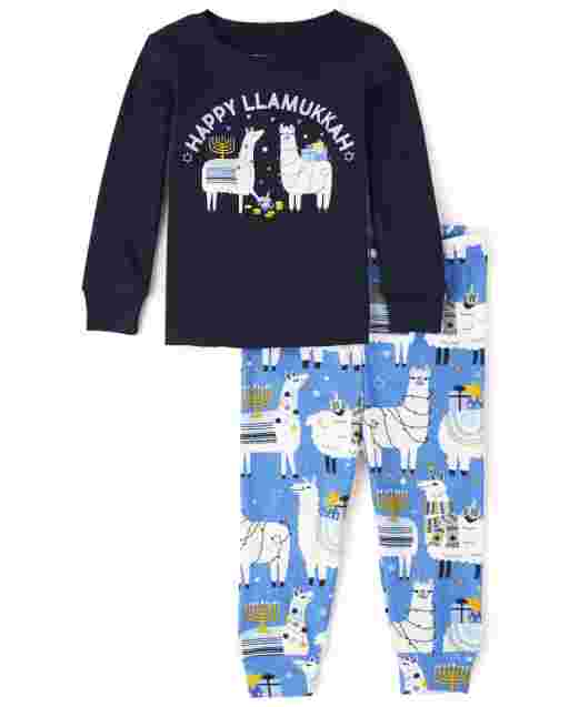 Unisex Baby And Toddler Matching Family Long Sleeve Hanukkah Llama Snug Fit Cotton Pajamas