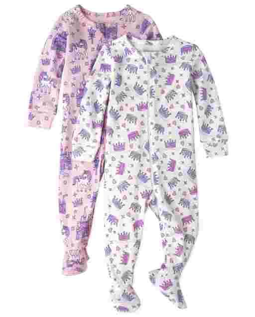 Paquete de 2 pijamas de una pieza de algodón con ajuste ceñido de princesa de manga larga para bebés y niñas pequeñas