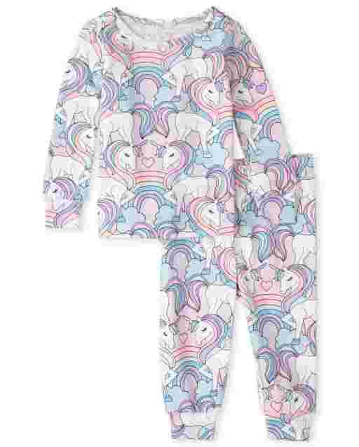 Baby And Toddler Girls Long Sleeve Unicorn Print Snug Fit Cotton Pajamas