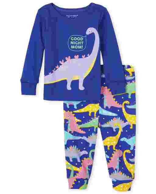 Pijama de algodón con ajuste ceñido Dino de manga larga para bebés y niñas pequeñas