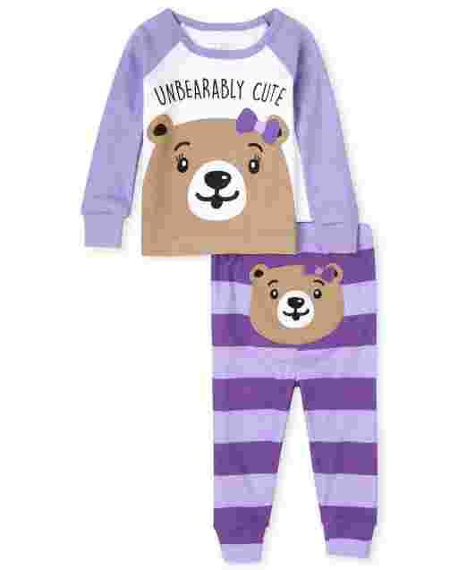 Baby And Toddler Girls Long Sleeve Bear Snug Fit Cotton Pajamas