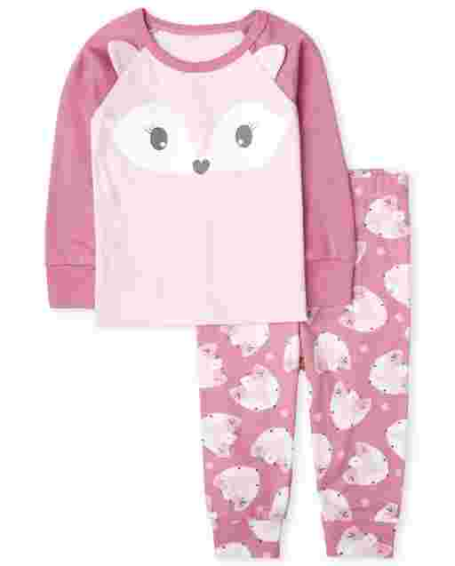 Baby And Toddler Girls Long Sleeve Fox Snug Fit Cotton Pajamas