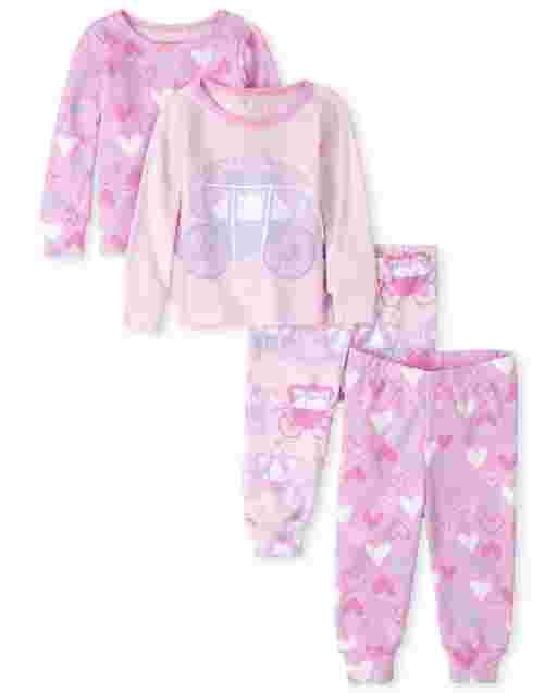 Pijamas de 4 piezas de algodón con ajuste ceñido Princess Heart para bebés y niñas pequeñas