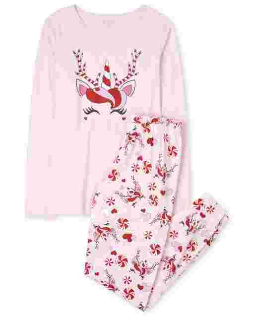 Womens Mommy And Me Christmas Long Sleeve Christmas Unicorn Cotton Matching Pajamas
