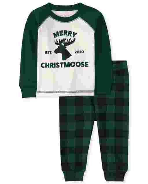 Unisex Baby And Toddler Matching Family Christmas Long Raglan Sleeve Christmas Moose Snug Fit Cotton Pajamas
