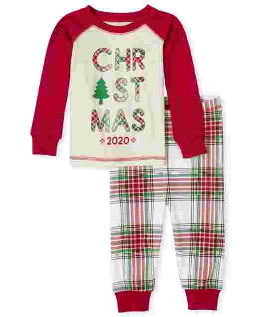Unisex Baby And Toddler Matching Family Christmas Long Raglan Sleeve Christmas Tartan Snug Fit Cotton Pajamas