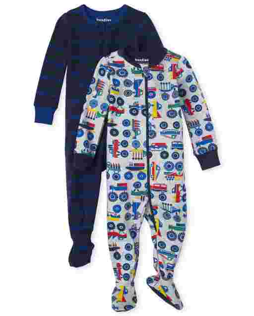 Baby And Toddler Boys Long Sleeve Truck Snug Fit Cotton Footed One Piece Pajamas 2-Pack
