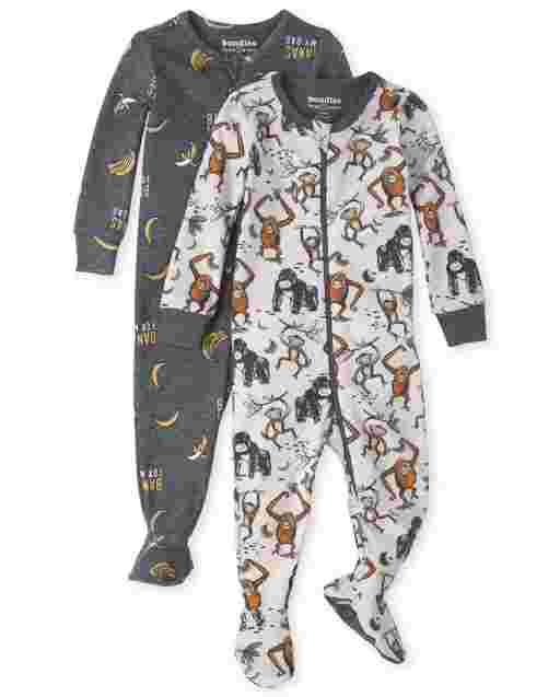 Baby And Toddler Boys Long Sleeve Monkey Snug Fit Cotton Footed One Piece Pajamas 2-Pack