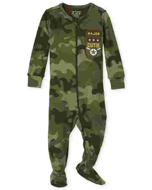 Baby And Toddler Boys Long Sleeve Camo Snug Fit Cotton Footed One Piece Pajamas