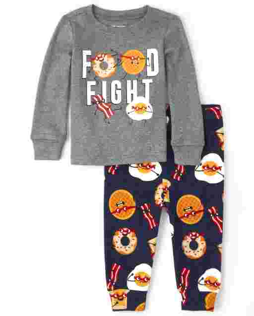 Baby And Toddler Boys Long Sleeve 'Food Fight' Snug Fit Cotton Pajamas