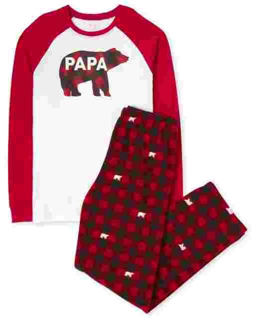 Pijamas de algodón con estampado de búfalo y manga larga de manga raglán navideña familiar a juego para hombre