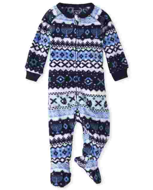Unisex Baby And Toddler Matching Family Long Sleeve Hanukkah Fairisle Fleece Footed One Piece Pajamas