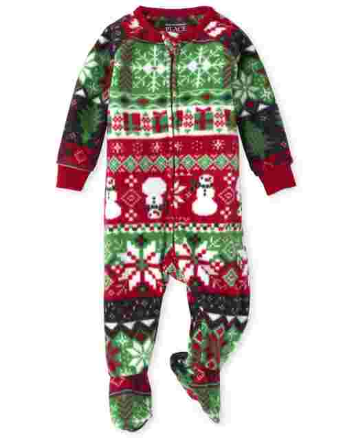 Unisex Baby And Toddler Matching Family Christmas Long Sleeve Christmas Fairisle Fleece Footed One Piece Pajamas