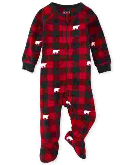 Unisex Baby And Toddler Matching Family Christmas Long Sleeve Bear Buffalo Plaid Fleece Footed One Piece Pajamas