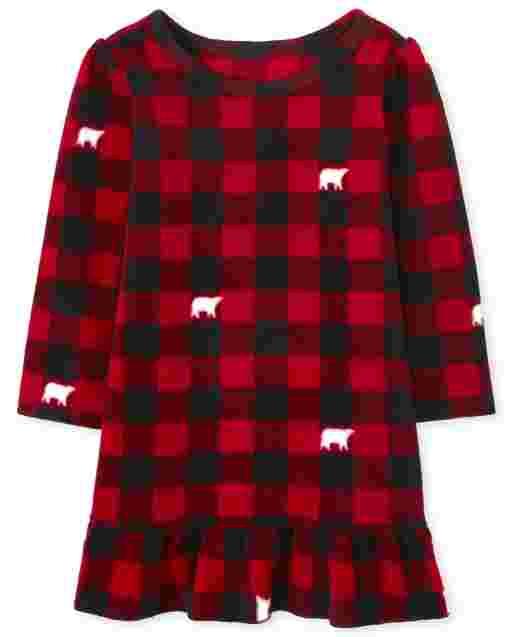 Toddler Girls Matching Family Christmas Long Sleeve Bear Buffalo Plaid Fleece Nightgown