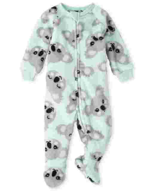 Baby And Toddler Girls Long Sleeve Koala Print Fleece Footed One Piece Pajamas