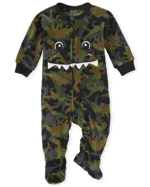 Baby And Toddler Boys Long Sleeve Dino Print Fleece Footed One Piece Pajamas