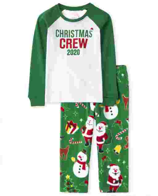 Unisex Baby And Toddler Matching Family Christmas Long Raglan Sleeve Christmas Crew Snug Fit Cotton Top And Fleece Pants Pajamas