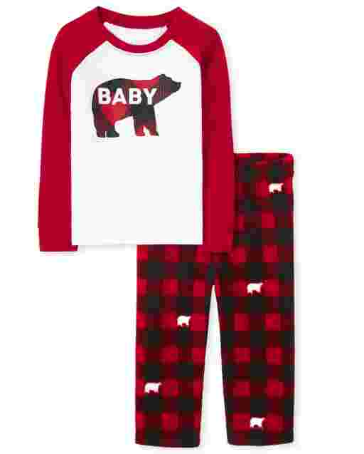 Unisex Baby And Toddler Matching Family Christmas Long Raglan Sleeve Bear Buffalo Plaid Snug Fit Cotton Top And Fleece Pants Pajamas