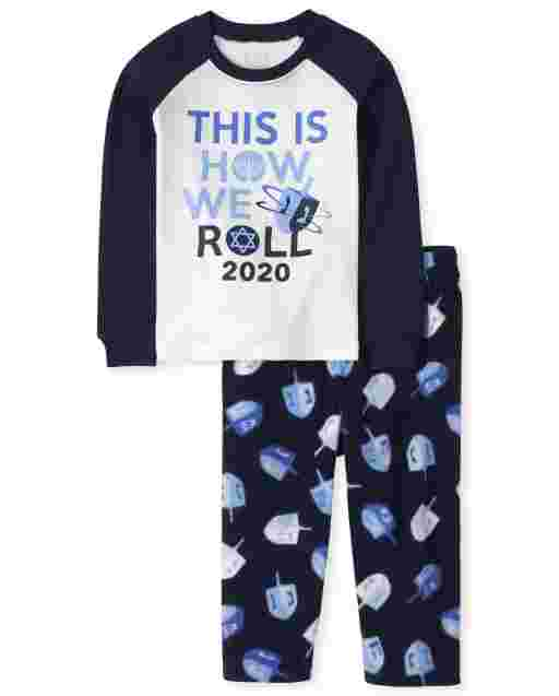 Unisex Baby And Toddler Matching Family Long Raglan Sleeve Hanukkah Festival Snug Fit Cotton Top And Fleece Pants Pajamas