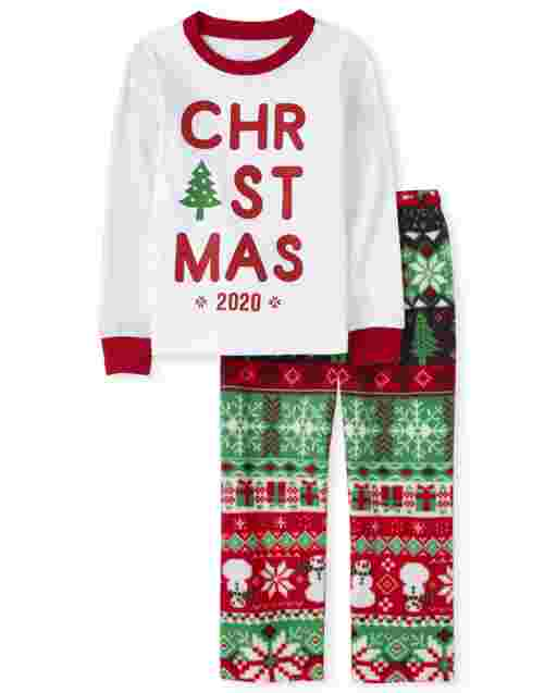 Unisex Baby And Toddler Matching Family Christmas Long Sleeve Christmas Fairisle Snug Fit Cotton Top And Fleece Pants Pajamas