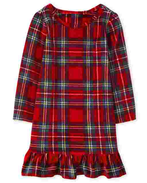 Baby And Toddler Girls Mommy And Me Christmas Long Sleeve Plaid Velour Matching Nightgown