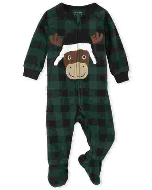 Unisex Baby And Toddler Matching Family Christmas Long Sleeve Moose Buffalo Plaid Fleece Footed One Piece Pajamas