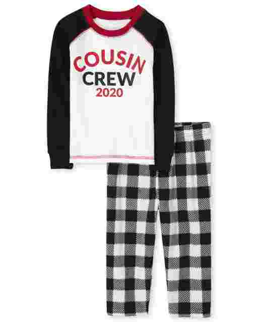 Unisex Baby And Toddler Matching Family Christmas Long Raglan Sleeve Buffalo Plaid Snug Fit Cotton Top And Fleece Pants Pajamas