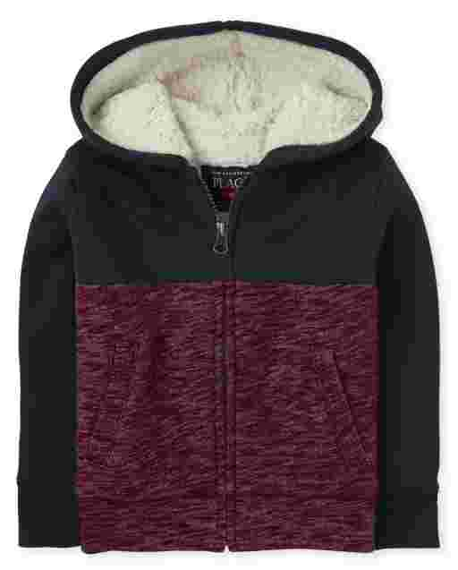 Baby And Toddler Boys Long Sleeve Colorblock Sherpa Lined Fleece Zip Up Hoodie