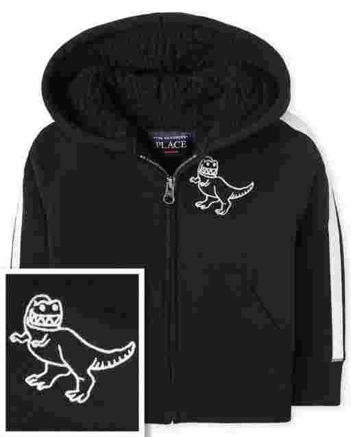Sudadera con capucha y cremallera de polar con forro de sherpa Dino y manga larga a rayas para bebés y niños pequeños