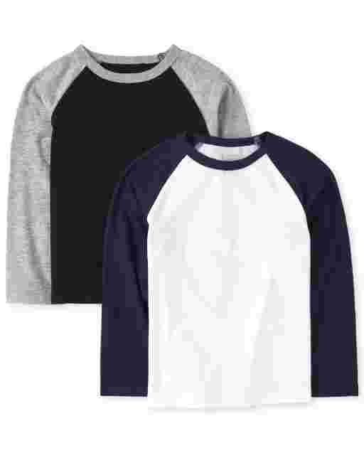 Baby And Toddler Boys Long Sleeve Raglan Top 2-Pack