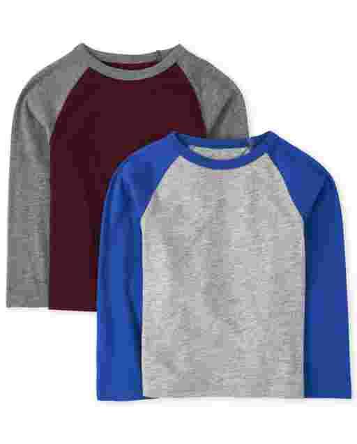 Baby And Toddler Boys Long Sleeve Raglan Top 2-Pack