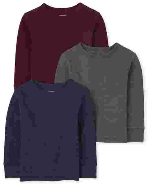 Baby And Toddler Boys Long Sleeve Thermal Top 3-Pack