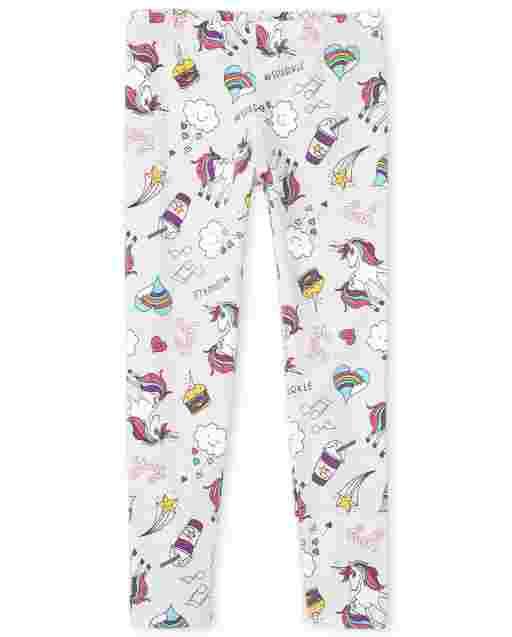 Girls Unicorn Doodle Knit Leggings