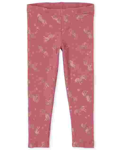 Girls Glitter Unicorn Knit Leggings