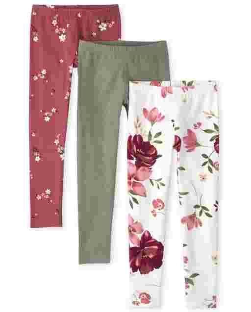 Girls Floral Knit Leggings 3-Pack