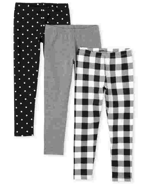 Girls Gingham Solid And Dot Print Knit Leggings 3-Pack