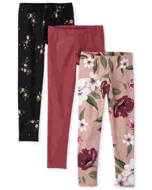 Girls Floral Print and Solid Knit Leggings 3-Pack
