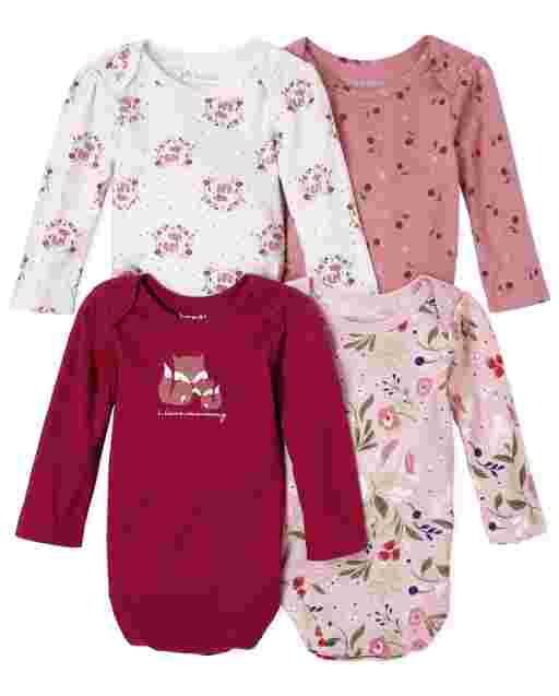 Baby Girls Long Sleeve Floral Fox Bodysuit 4-Pack