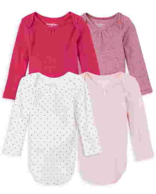 Baby Girls Long Sleeve Dot And Striped Bodysuit 4-Pack