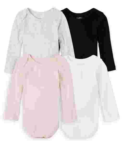 Baby Girls Long Sleeve Bodysuit 4-Pack
