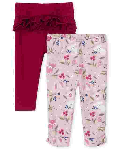 Baby Girls Floral Fox Knit Pants 2-Pack