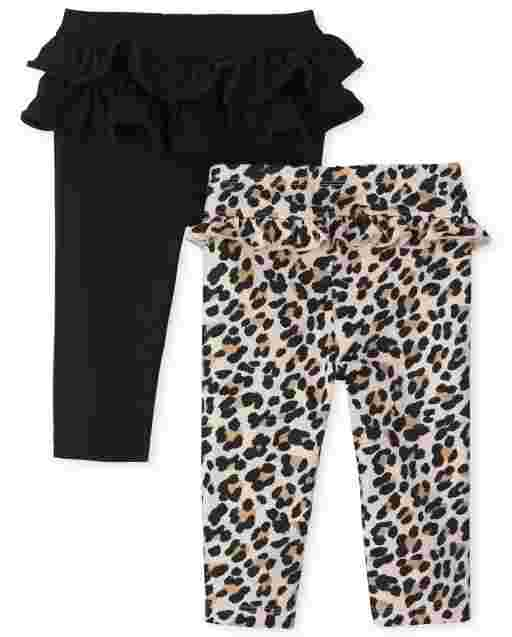 Baby Girls Leopard And Solid Tutu Knit Pants 2-Pack