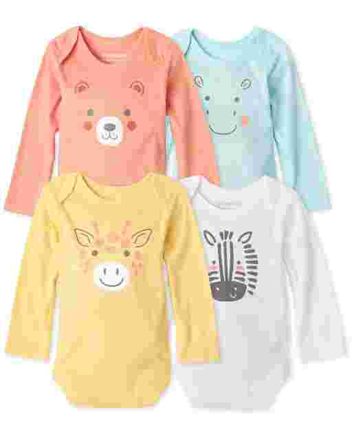 Unisex Baby Long Sleeve Doodle Animals Bodysuit 4-Pack